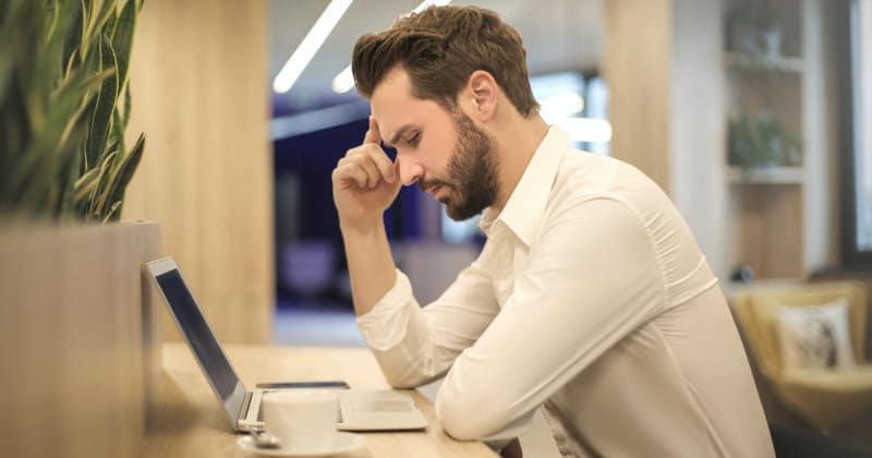 man focused on work