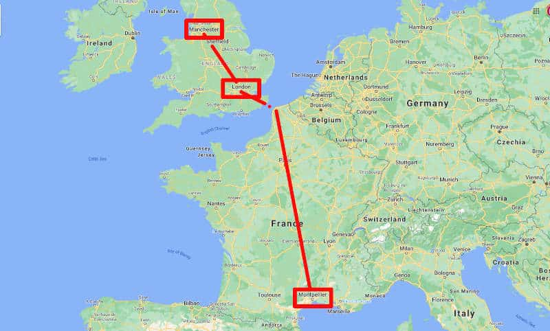 Manchester to London to Montpellier